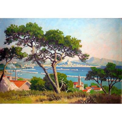 Etienne Robert (1875-1959) La Rade De Marseille Vue De l'Estaque