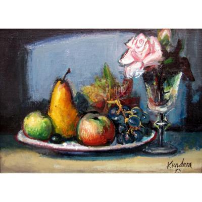 Rudolf Kundera (1911-2005) Still Life With Fruits And Rose