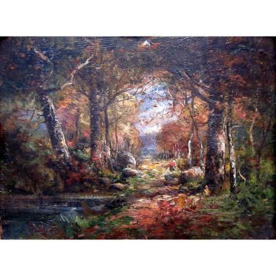Charles Dehoy (1872-1940) Landscape With The River And The Undergrowth