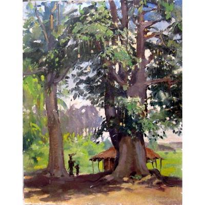 Guilherme d'Oliveira Marques (1887-1960) Animated African Landscape