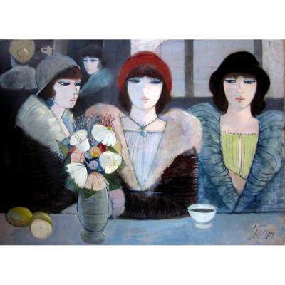 Charles Levier (1920-2003) Elégantes Au Salon De Thé