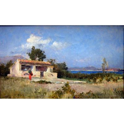 Octave Gallian (1855-1918) Le Lavoir Sur La Corniche Tamaris - Surroundings Of Toulon