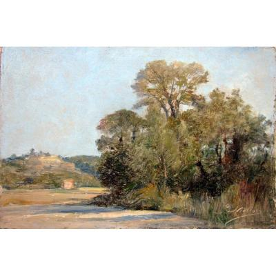 Barthélemy Niollon (1849-1927) Landscape Of The Surroundings Of Aix En Provence
