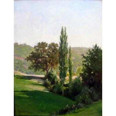 Théodore Jourdan (1833-1908)  Noyer et Peuplier à Lourmarin