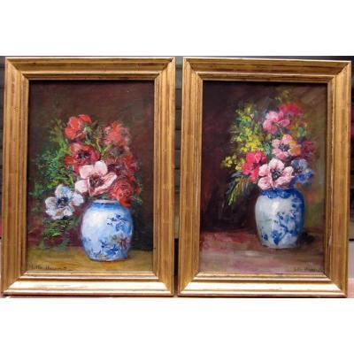 Lillie Honnorat (XIXe-XXe) Paire De Bouquet d'Anémones Et Mimosa