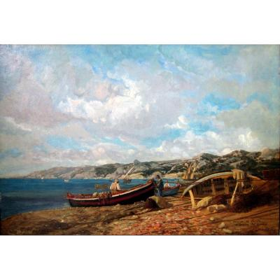 Eugène François Mayan (19th-20th) Fishermen On The Beach Of l'Estaque