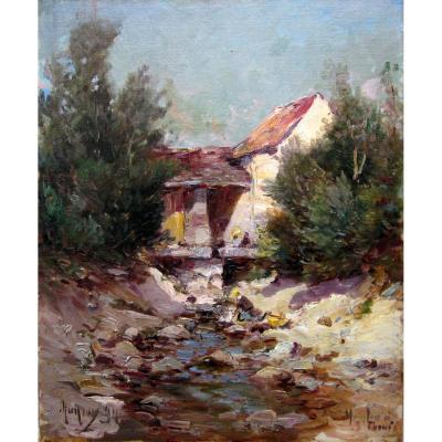 Charles Malfroy (1862-1918) Lavandière Devant Un  Moulin à Saint Thomé Dans l'Ardèche