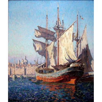 Adrien Hamon (1875-1963) Navires Dans Le Vieux Port De Marseille