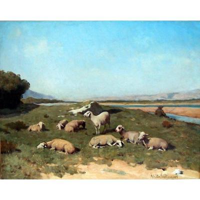 Walter Biddlecombe (1855-1903) Berger Et Son Troupeau Dans La Vallée De La Durance