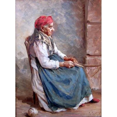 Marius Reynaud (1860-1935) Femme De Pêcheur Ravaudant Les Filets