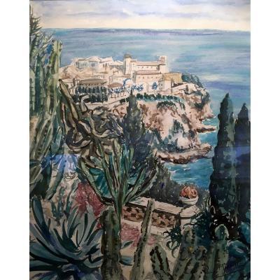 Pierre Marseille (1896-1980) Monaco - Le Palais Princier Vu Du Jardin Exotique