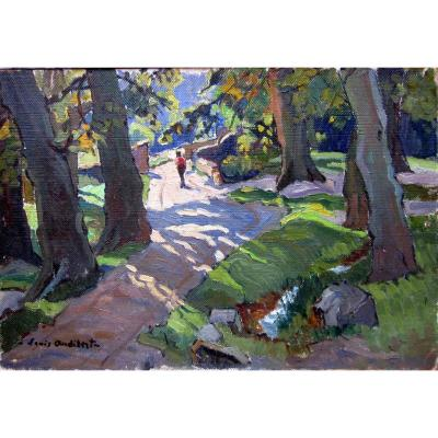 Louis Audibert (1880-1983) Walk On A Shaded Path At Les Angles In The Gard