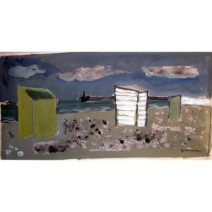 Raymond Guerrier (1920-2002) Cabines Sur La Plage