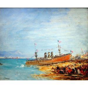 Félix Ziem (1821-1911) Le Lancement d'Un Navire Croiseur Cuirassé à Toulon