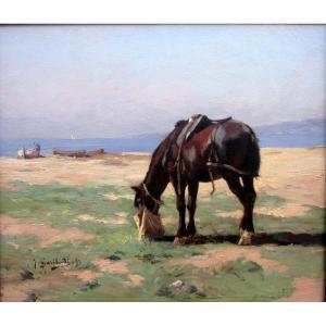 Joseph Garibaldi (1863-1941) Cheval Mangeant Dans Un Sac à Avoine