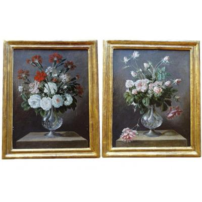 Pair Of Flower Paintings - Late 18th / Early 19th