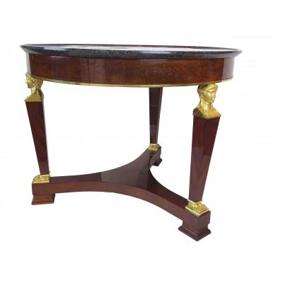 First Empire Period Pedestal Table In Mahogany And Gilded Bronzes