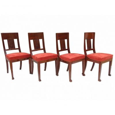 Suite Of Four Mahogany Chairs First Empire Period