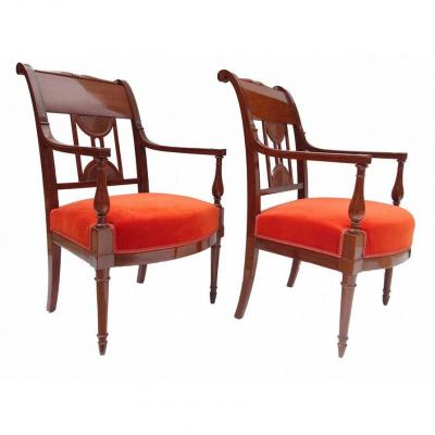 Pair Of Mahogany Armchairs Directoire Period