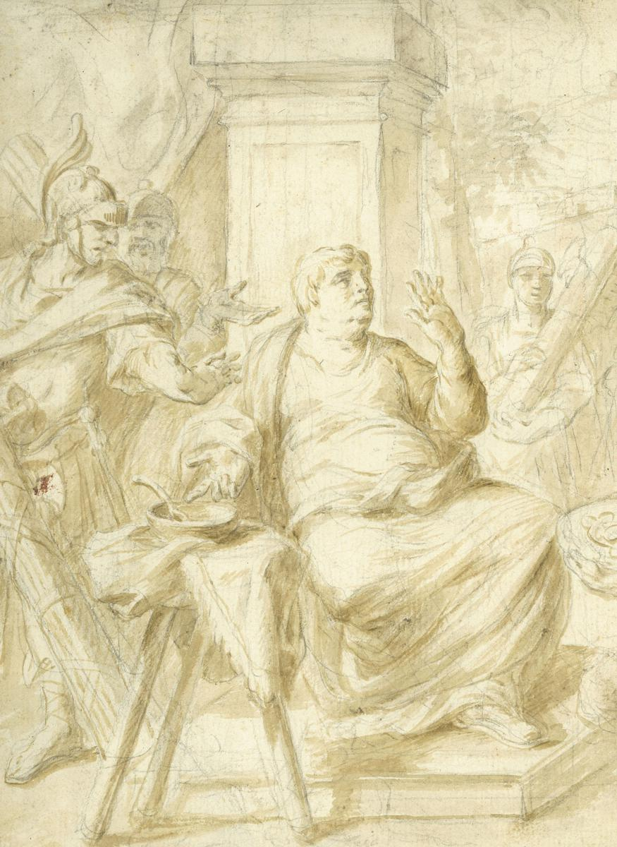 """Sujet tiré de l'Histoire Ancienne"", SOLE Giovanni Giuseppe Dal, Dessin, Lavis-photo-2"