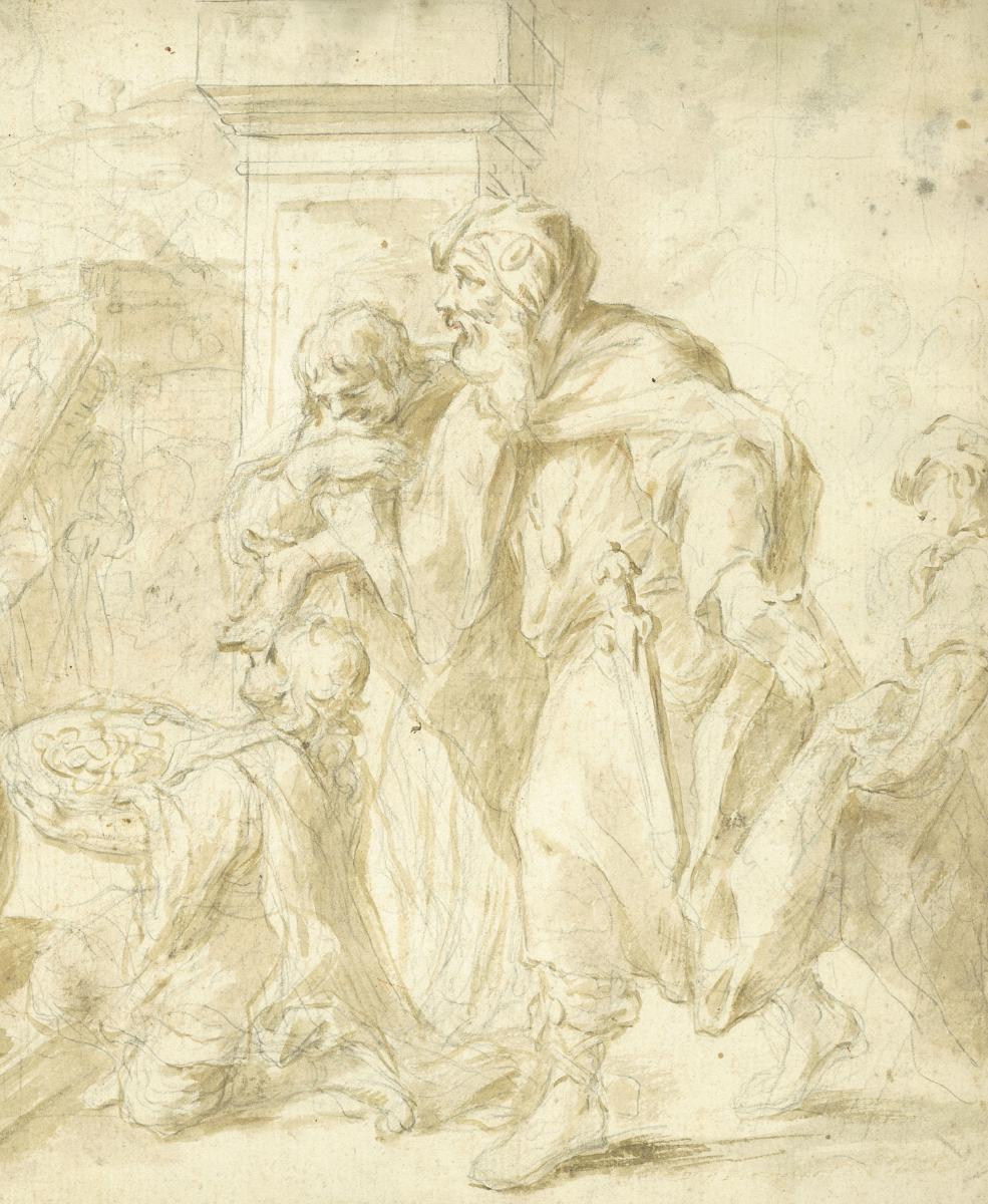 """Sujet tiré de l'Histoire Ancienne"", SOLE Giovanni Giuseppe Dal, Dessin, Lavis-photo-3"