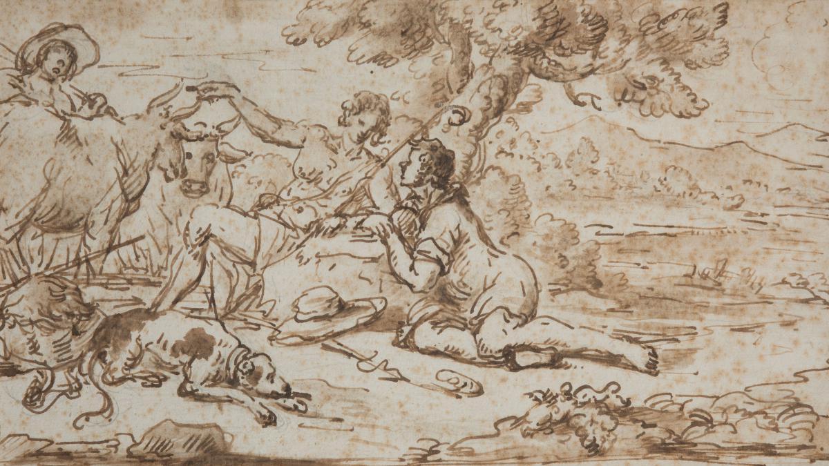 """""""Bergers et leur troupeau"""" Dessin, Ecole Italienne, 17e siècle"""