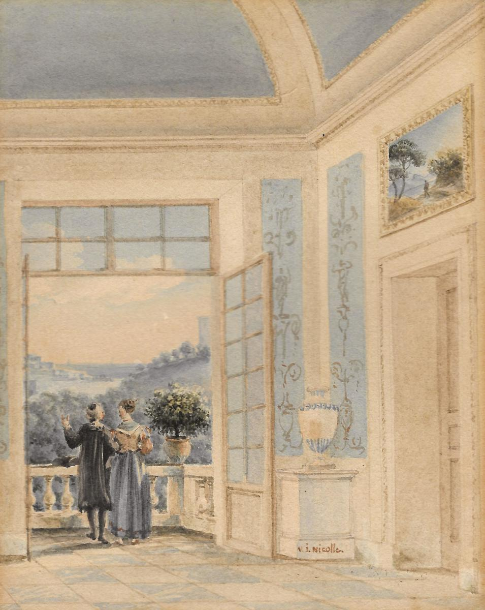 """""""two Figures In A Palace Watching The Landscape"""" Watercolor, Victor Jean Nicolle"""