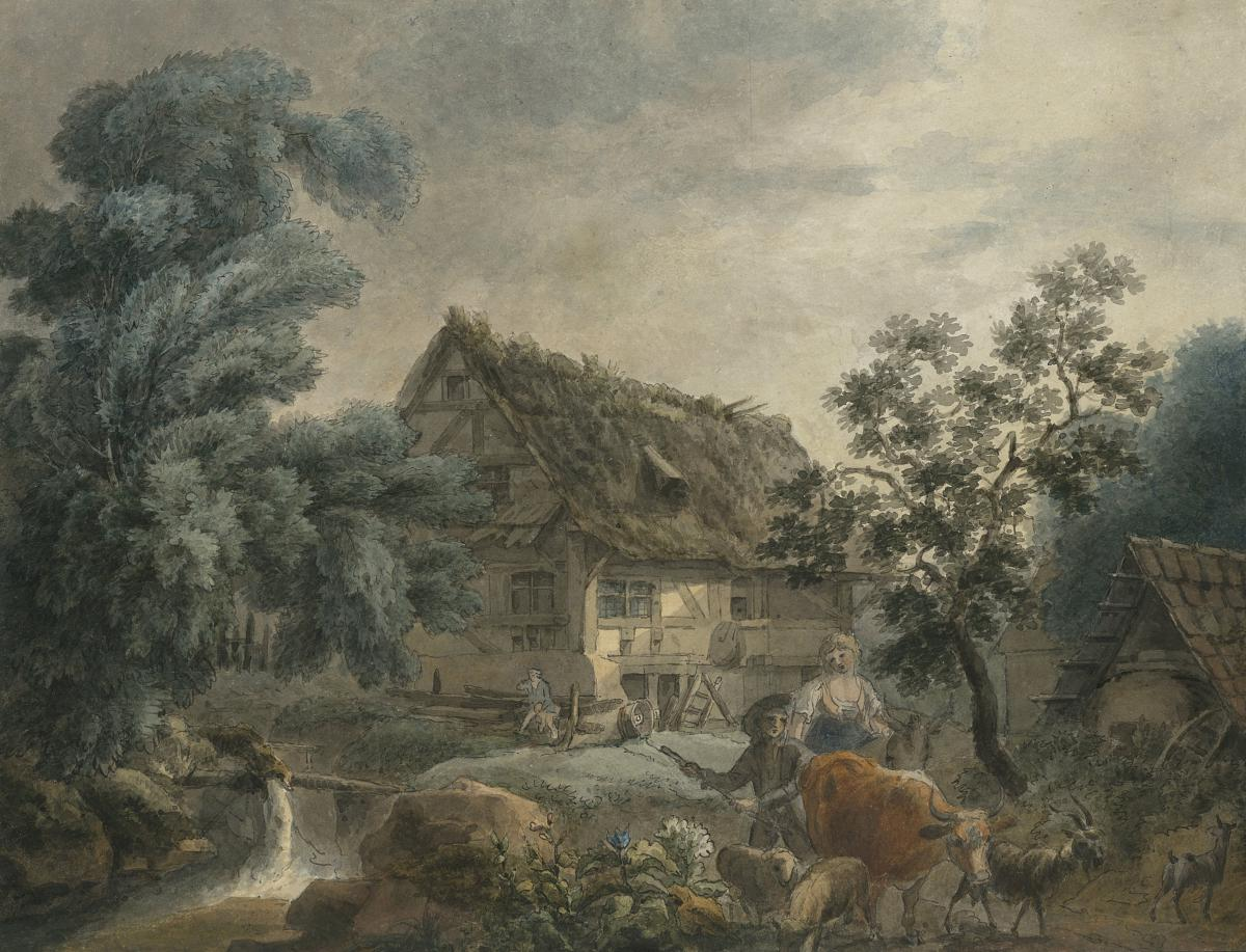"""""""peasants In Front Of A Cottage"""" Watercolor & Pen, George Morland, Attribut. To, English School"""