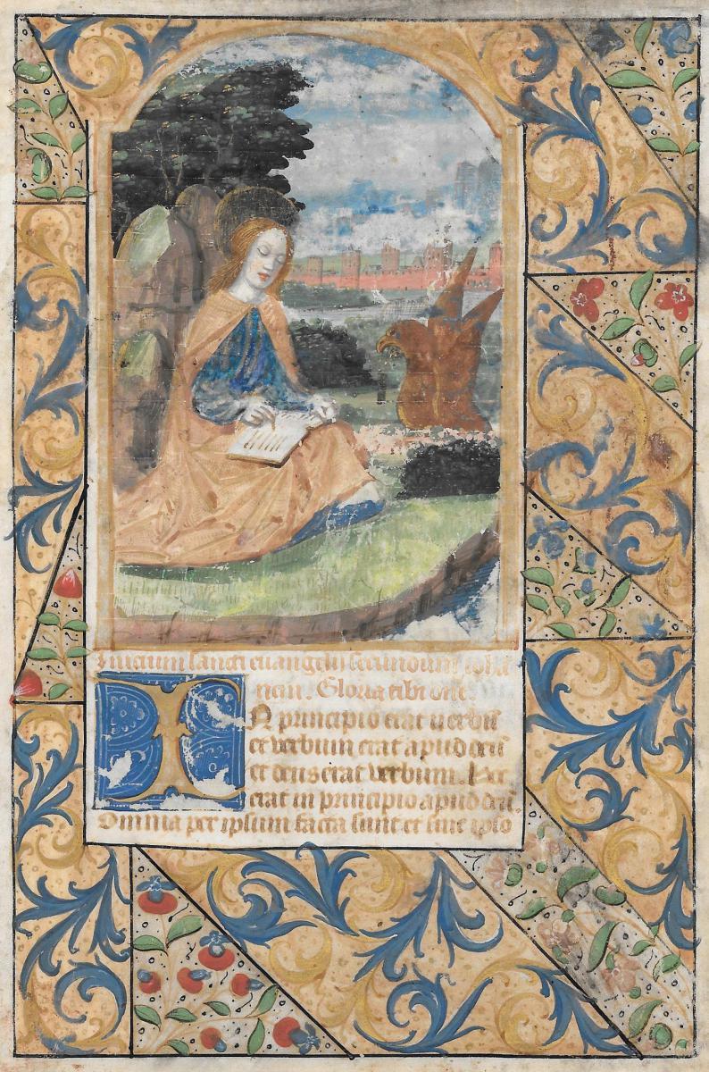 """saint John"" Page Of Illumination, French School Circa 1550, Gouache & Gold Paint On Vellum"