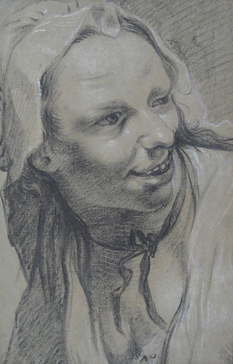 """Portrait de femme"" Dessin, GAREMYN Jan Anton, Ecole Flamande"