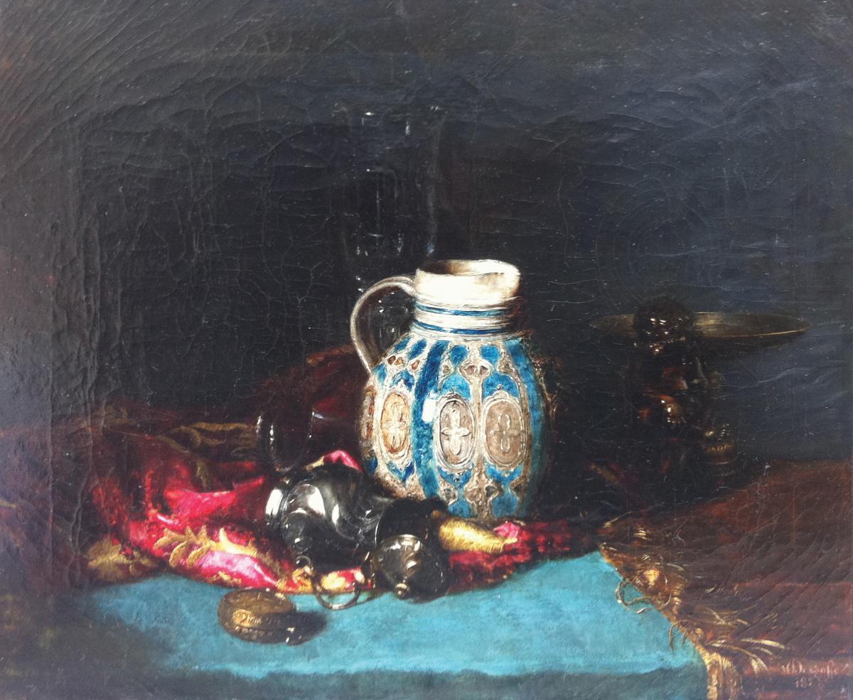 """still Life"" Oil On Canvas, Blaise Alexander Desgoffe"