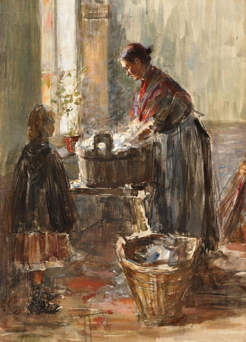 """""""Femme lavant du linge"""" Huile sur toile, PARIS Edouard, Ecole Suisse"""