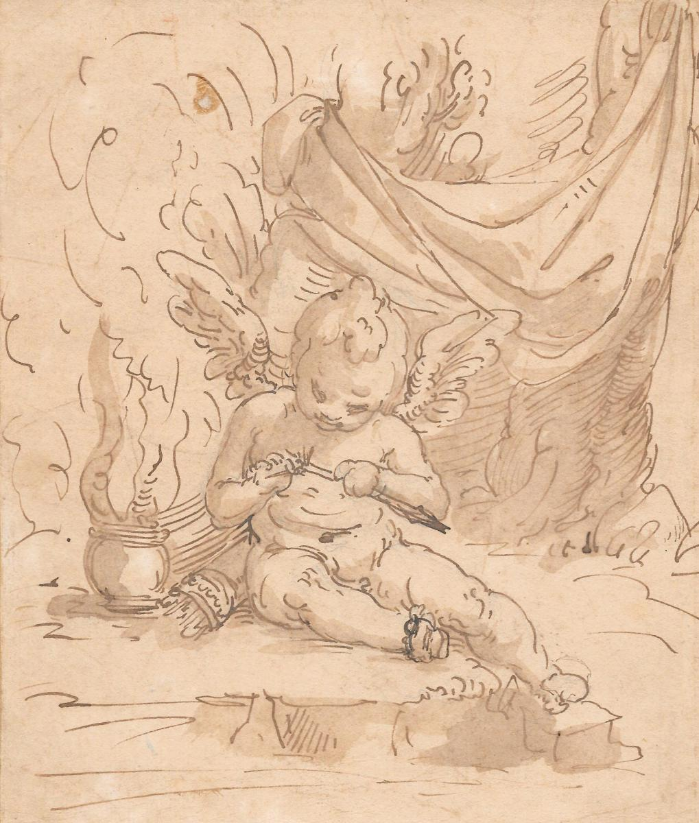 """an Angel"" Drawing, Pen And Brown Wash, Italian School, Genova, Late 16th / Early 17th"