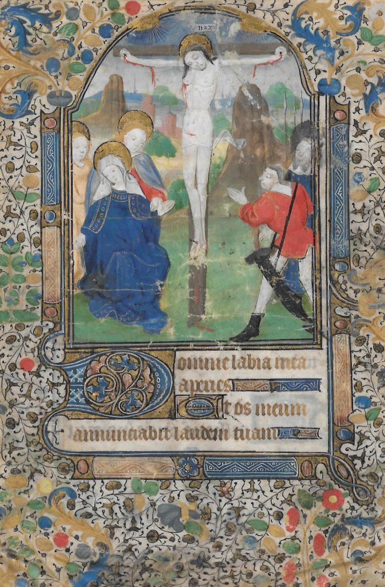 """""""Le Christ en croix"""" Enluminure, Ecole française, fin du 15e siècle"""