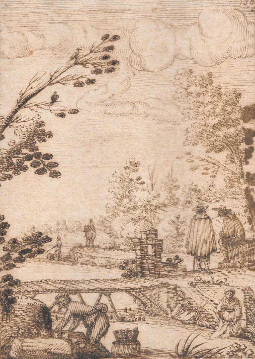 """""""Paysage animé à la rivière"""" Dessin à la plume, Ecole Italienne, 17e siècle"""