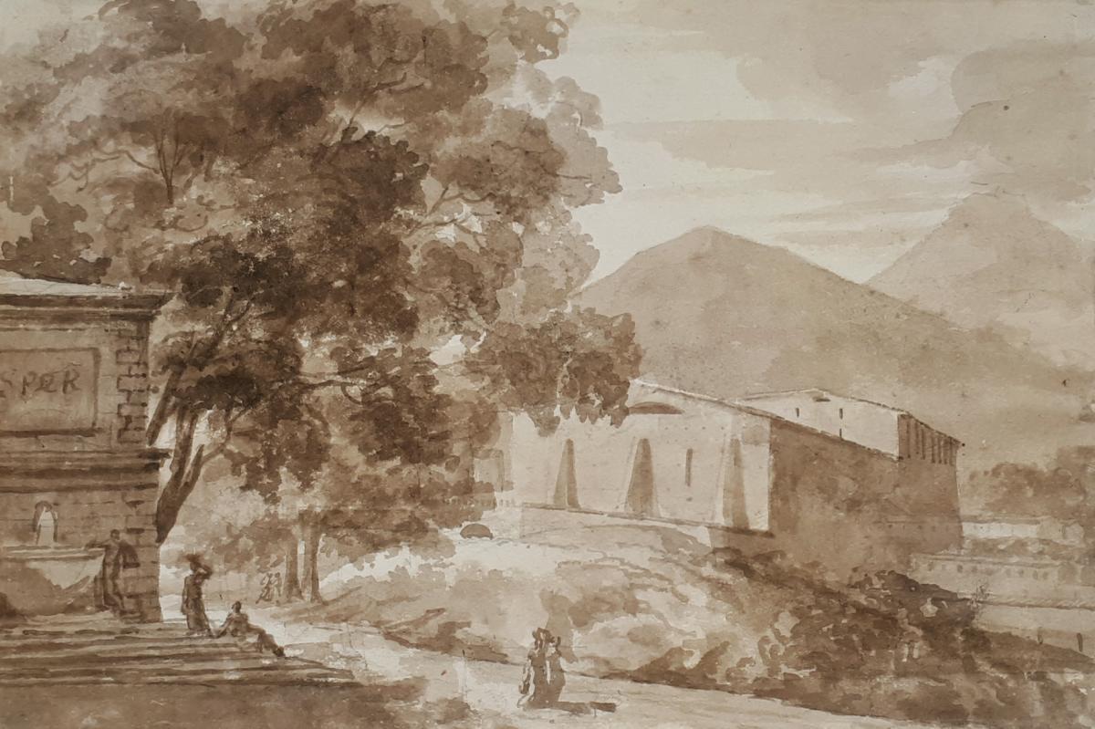 """""""Paysage"""" Lavis brun, Ecole française 18e siècle"""