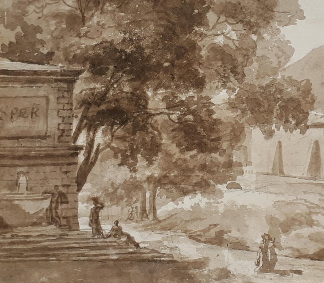 """""""Paysage"""" Lavis brun, Ecole française 18e siècle-photo-2"""