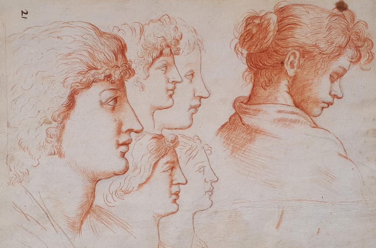 """""""Visages de femmes"""" Dessin au crayon sanguine, Ecole Italienne, Fin 17e/Début 18e siècle"""