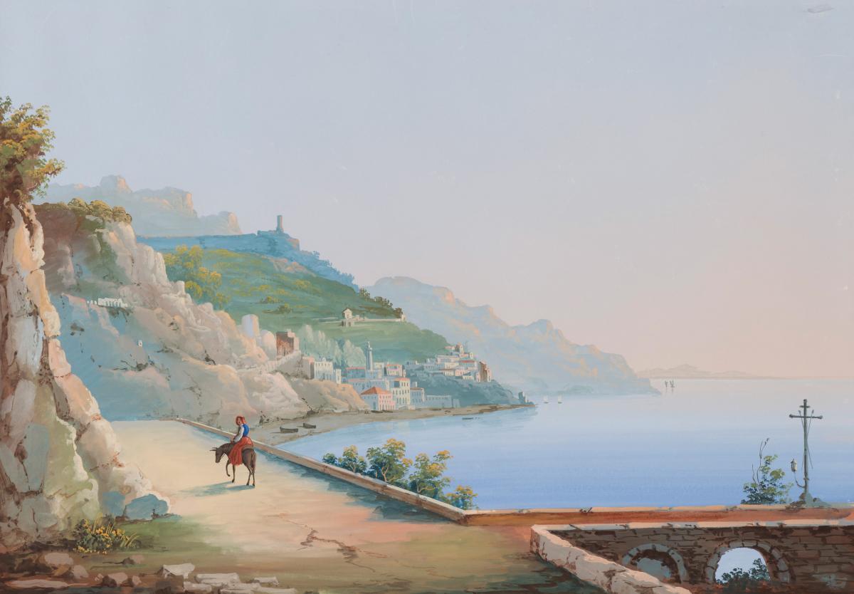 """""""Gouache napolitaine"""" Ecole Italienne, Naples vers 1830, Gouache"""