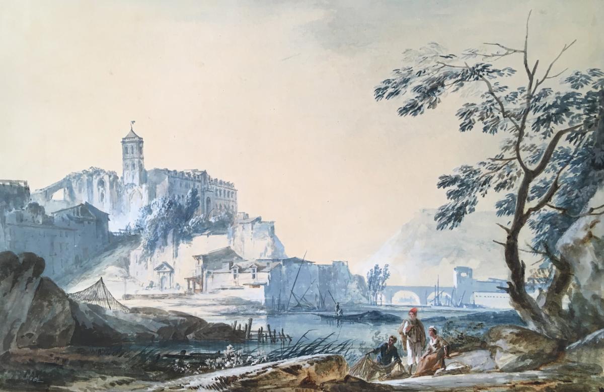"""""""Paysage de bord de rivière"""" Gouache, Alexandre Jean NOEL"""