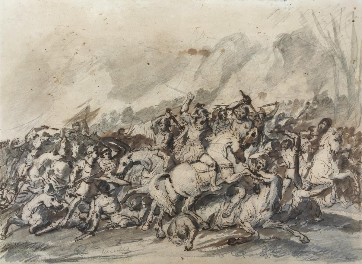 """""""Choc de cavalerie (2)"""" Jacques GAMELIN, Attribué à, Dessin"""