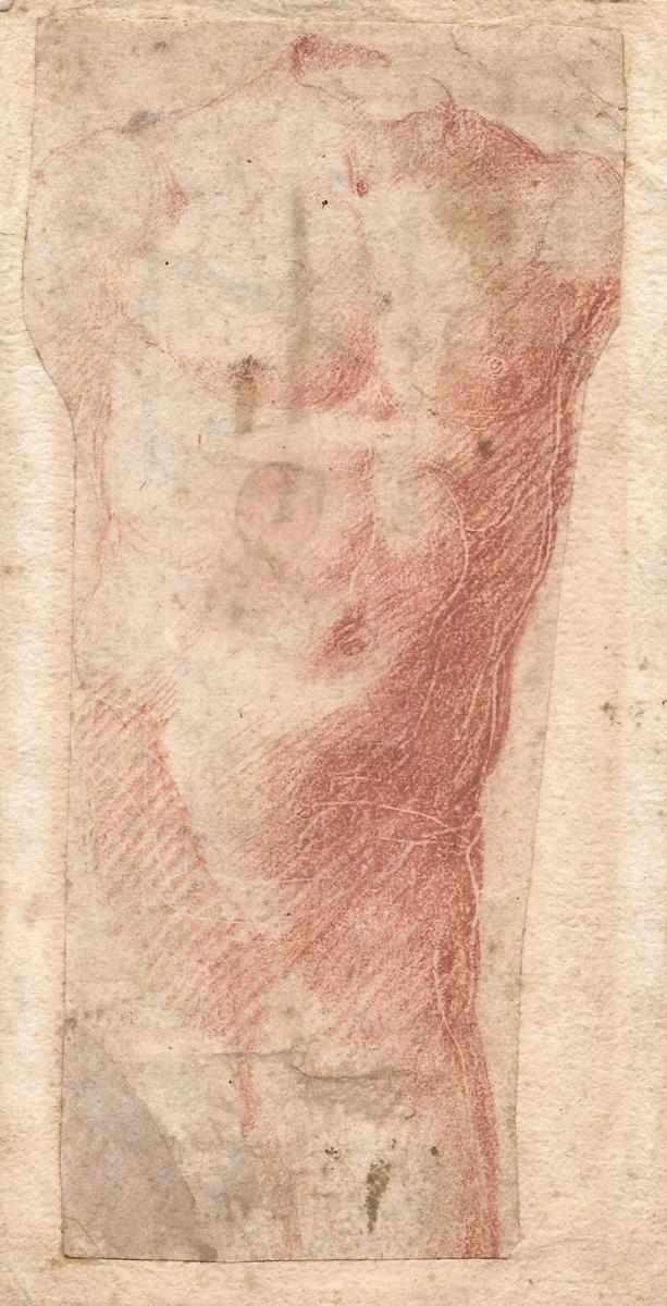 """Etude de torse"" Ecole Italienne 16e siècle, Dessin au crayon sanguine"