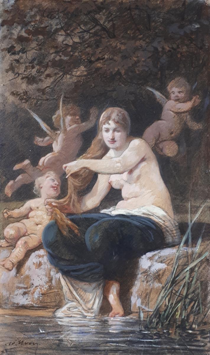 """""""Femme et anges au bord d'une rivière"""" Adolphe YVON,Dessin/crayon noir,aquarelle & gouache"""