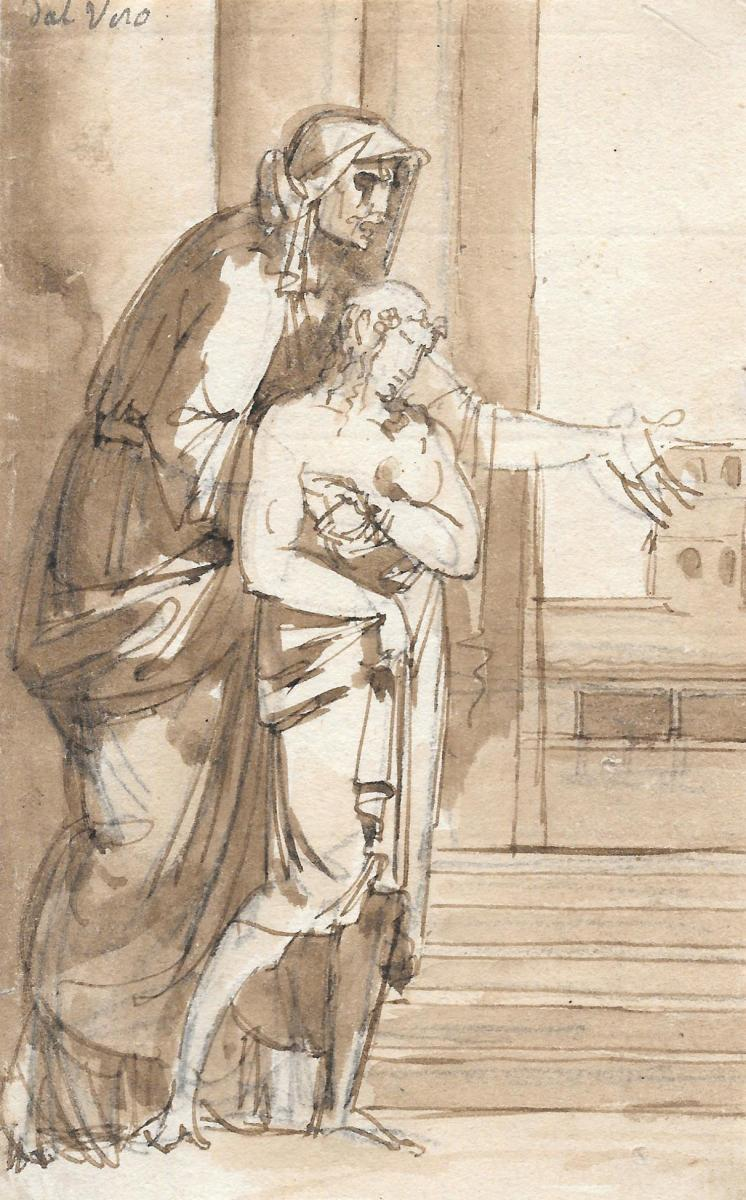 """neoclassical Scene (woman & Child) Italian School Late 18th, Drawing"