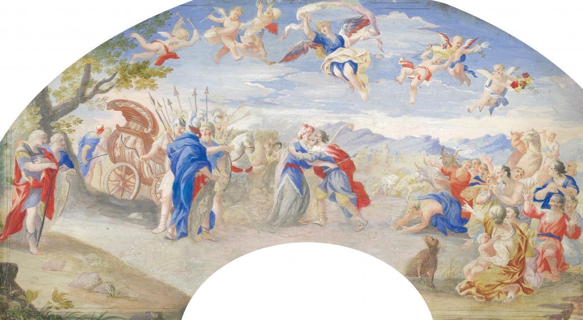 """""""Melchisédech et Abraham"""" Ecole Française, Fin 17e siècle, Gouache"""