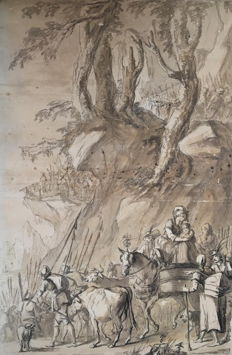 """""""landscape And Characters"""" French School 18th Century, Pen And Brown Wash"""