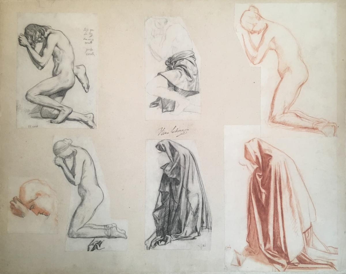"""kneeling Woman: 7 Studies On The Same Mount"" Lehmann Henri, Drawing/black Pencil & Red Chalk"