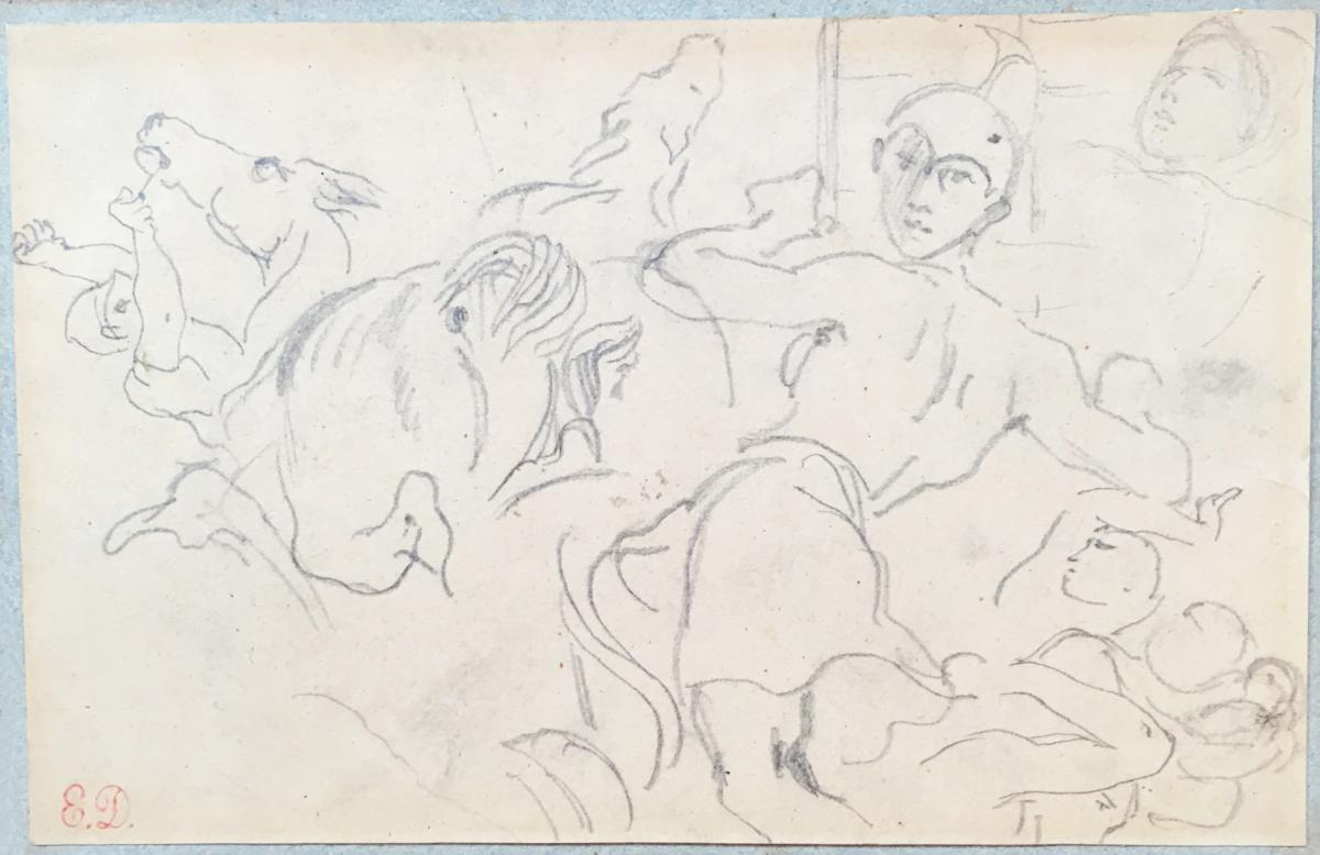 """DELACROIX Eugène, """"Personnages et chevaux"""", Dessin, crayon noir, Cachet vente atelier"""