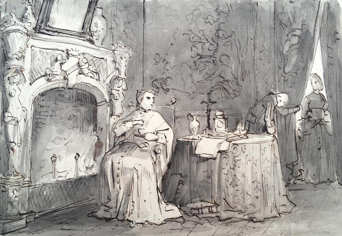 """GRANET François Marius """"Un prélat dans son intérieur"""" Dessin, Plume et lavis gris"""
