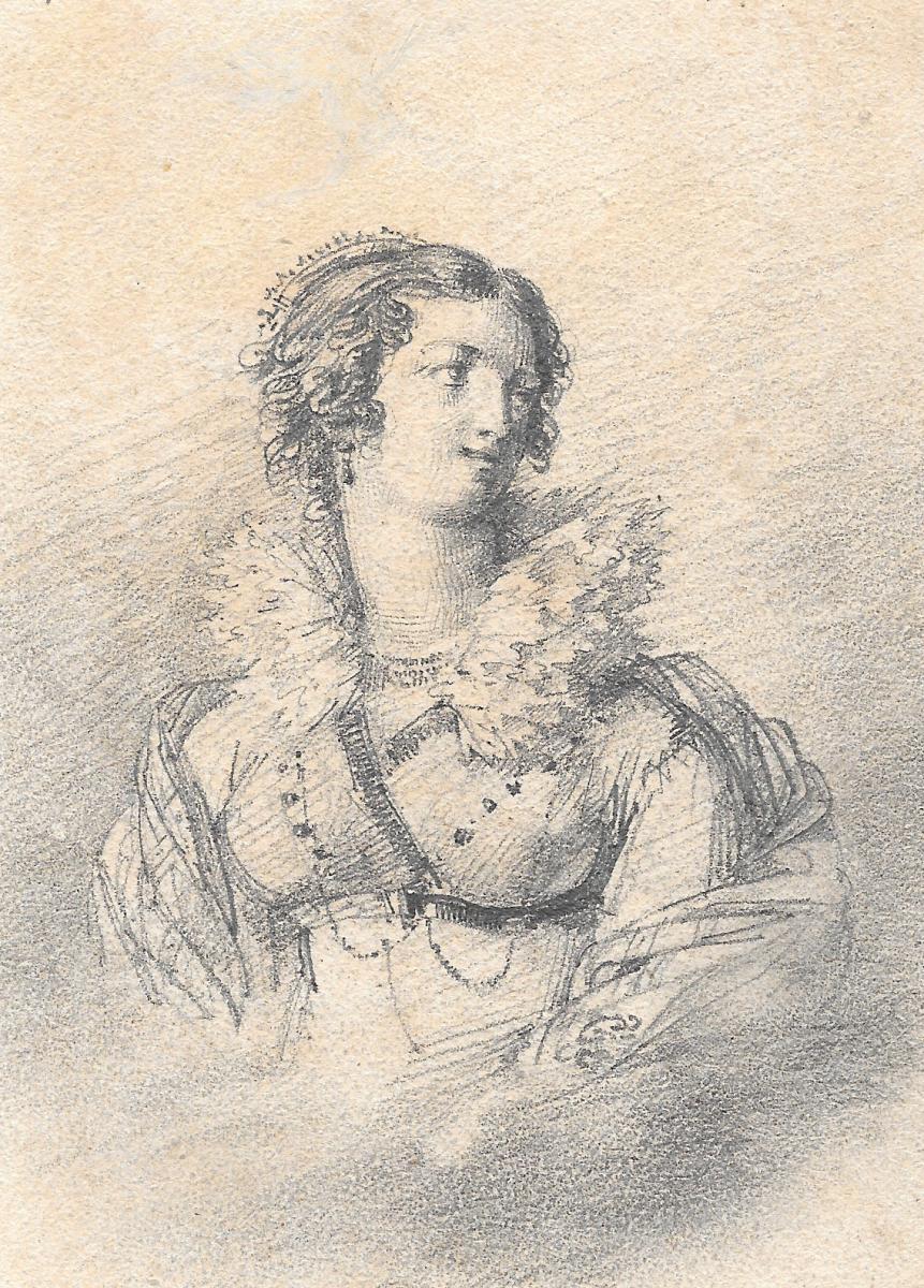 """ISABEY Jean-Baptiste, Attribué à """"Portrait de femme"""" Dessin, crayon noir, annoté"""